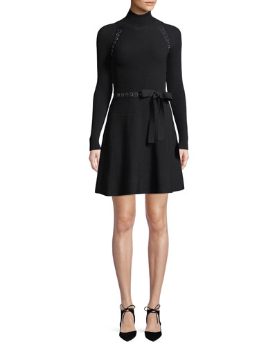Turtleneck Long-Sleeve Ribbon Waist Knit Mini Dress w/ Metal Trim