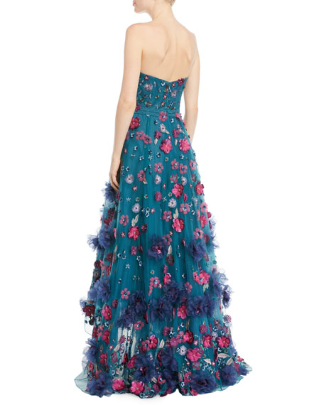 Strapless Ball Gown w/ 3D Petals