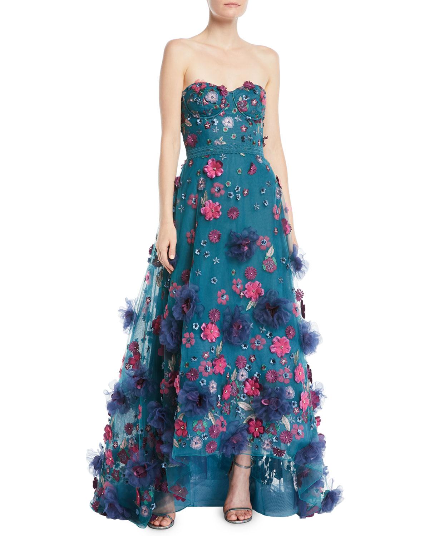 Marchesa Notte Strapless Ball Gown w/ 3D Petals   Neiman Marcus