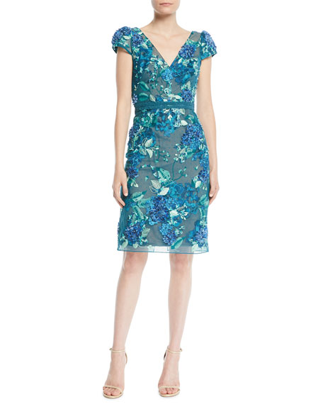 3 D Floral Embroidered Cap Sleeve Dress by Marchesa Notte