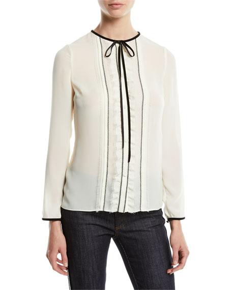 Long-Sleeve Georgette Tie-Neck Blouse
