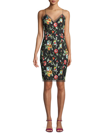 Aidan by Aidan Mattox Sleeveless Floral Embroidered Dress