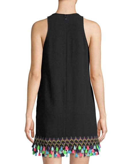 Crepe Trapeze Tassel-Hem Dress