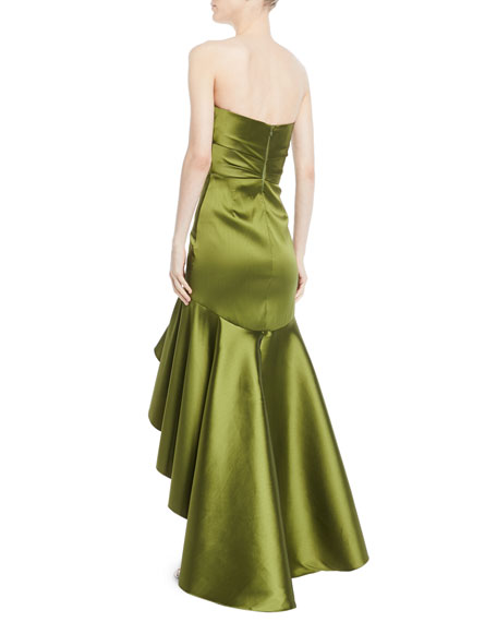 Strapless High-Low Two-Tone Mikado Gown