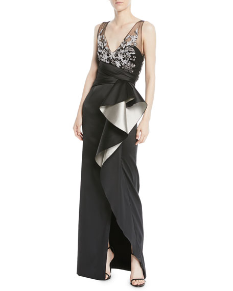 Marchesa Notte Two-Tone Stretch Mikado Column Gown