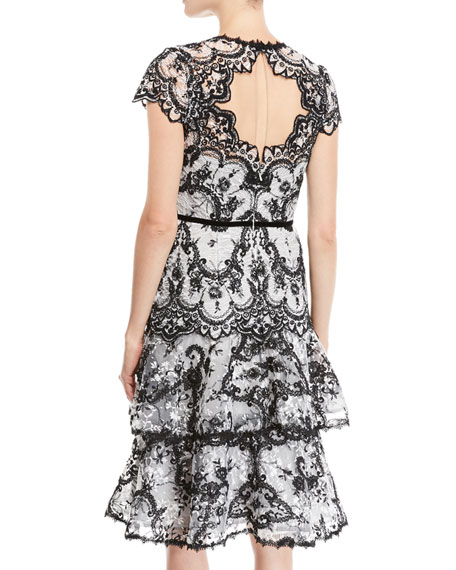 Corded Lace Dress w/ Embroidery & Velvet Trims