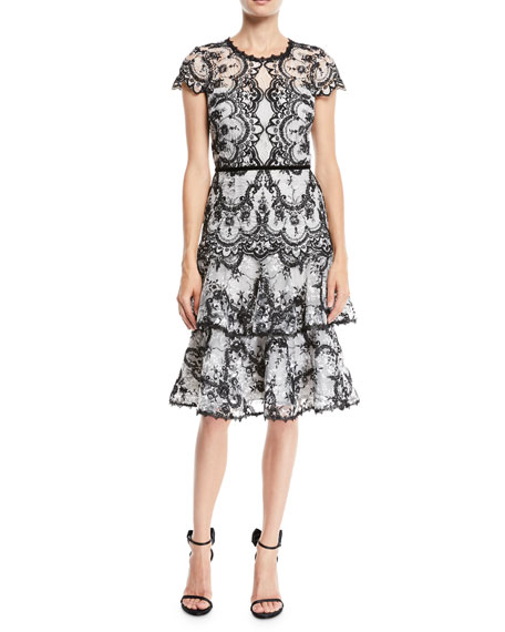 Marchesa Notte Corded Lace Dress w/ Embroidery &