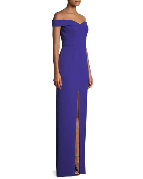 Scuba Crepe Off-Shoulder Gown