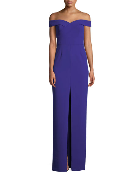 Aidan by Aidan Mattox Scuba Crepe Off-Shoulder Gown