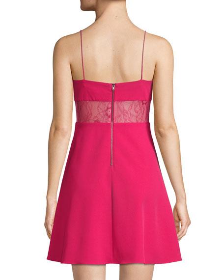 Crepe Mini Cocktail Dress w/ Lace Back