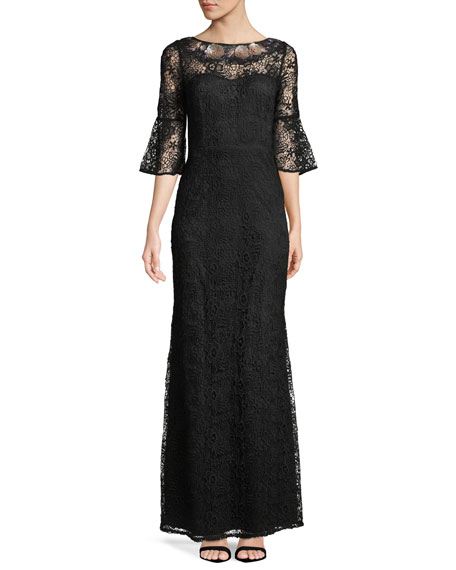 Embroidered Bell-Sleeve Gown
