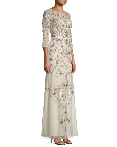 Embellished Scoop-Back Gown