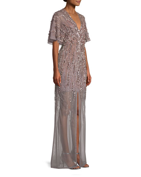 Beaded V-Neck Gown w/ Illusion Skirt