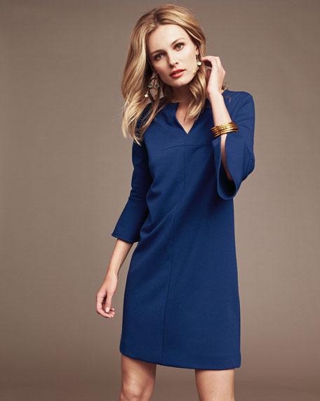 Slit-Neck 3/4 Bell Sleeve A-Line Crepe Dress, Petite