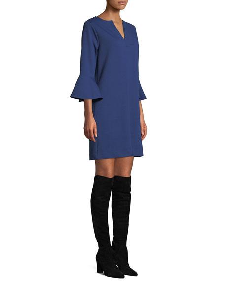 Slit-Neck 3/4 Bell Sleeve A-Line Crepe Dress, Plus Size