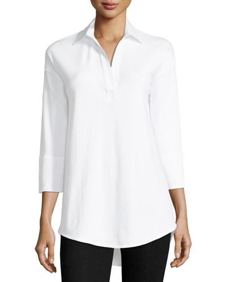 Joan Vass 3/4-Sleeve Collared Shirt, Plus Size