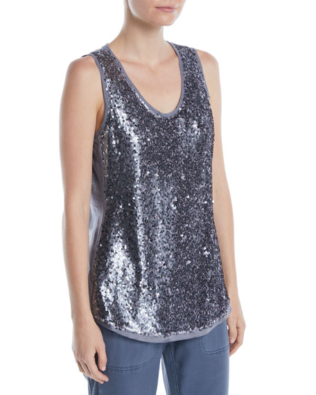 Twinkle Night Scoop-Neck Sequin Knit Tank, Plus Size