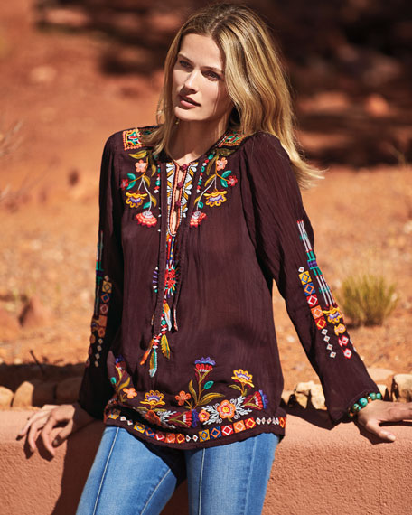 Free Spirit Embroidered Georgette Blouse, Petite