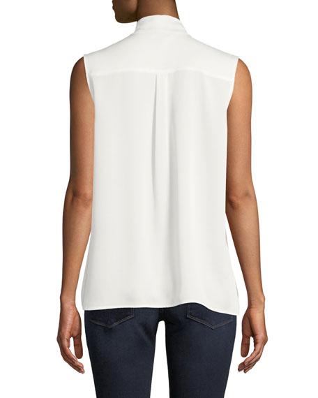 Scarf Tie-Neck Sleeveless Button-Front Blouse, Petite