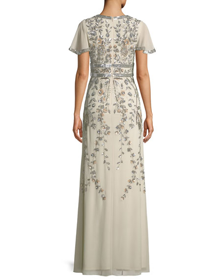 Short-Sleeve V-Neck Beaded Gown