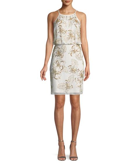 Floral-Beaded Halter Mini Cocktail Dress