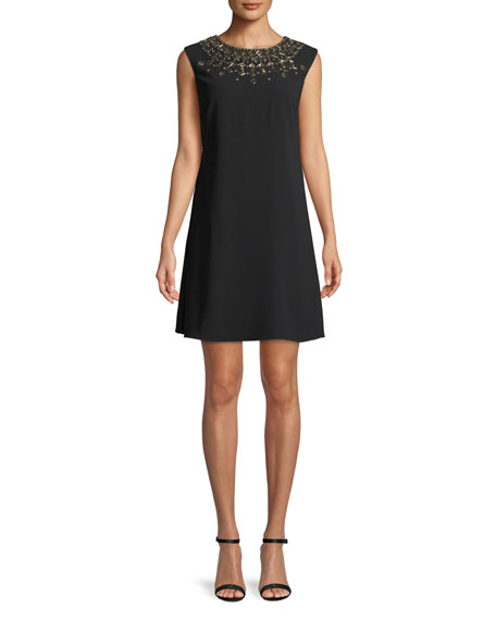 Embellished Trapeze Mini Cocktail Dress