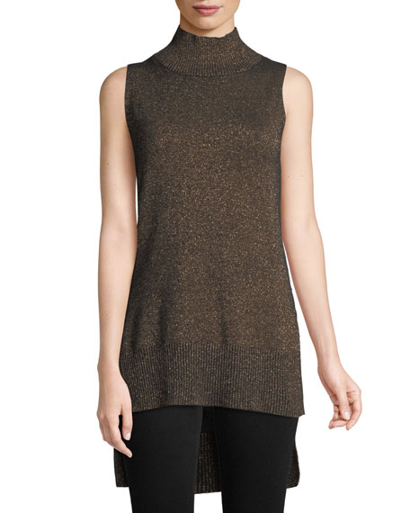 Cashmere Metallic-Plaited Tunic