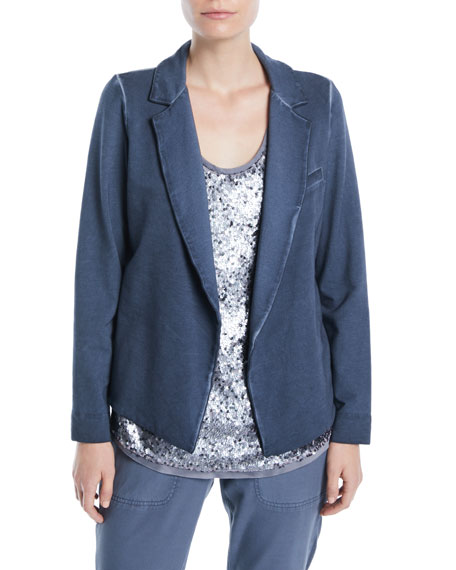 Terry Open-Front Garment-Dye Blazer, Plus Size
