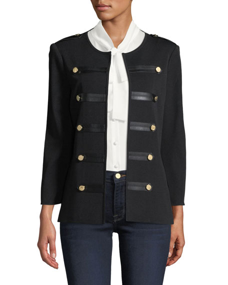 Misook Epaulette Knit Jacket with Faux-Leather Trim and