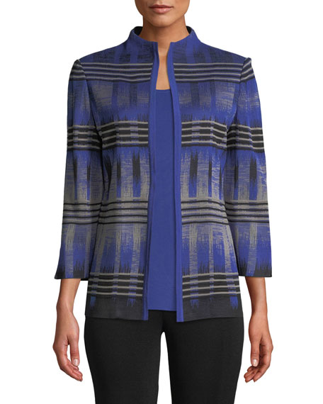 High-Neck Graphic Knit Jacket, Plus Size