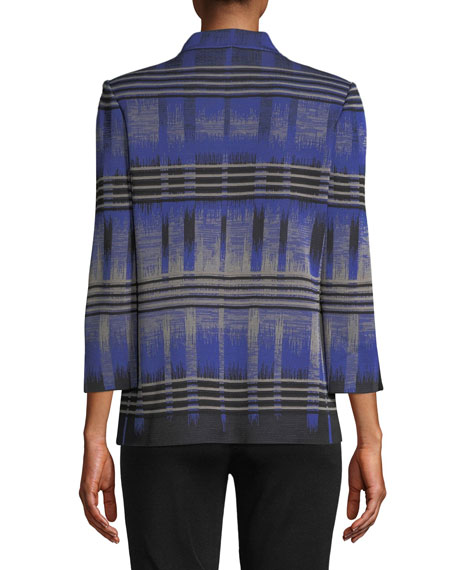 High-Neck Graphic Knit Jacket, Petite