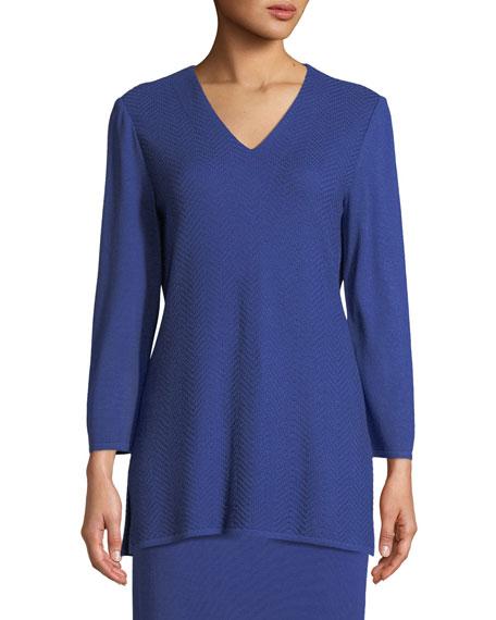 Misook V-Neck 3/4-Sleeve Wool-Blend Sweater, Petite