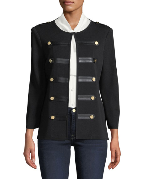 Knit Military Jacket with Faux-Leather Epaulets, Petite