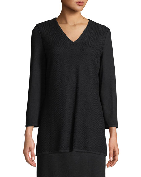 Misook V-Neck 3/4-Sleeve Wool-Blend Sweater, Plus Size and