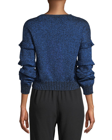 Crewneck Ruffle Trim Long-Sleeve Metallic Knit Sweater
