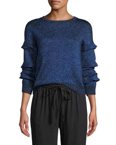 REDValentino Crewneck Ruffle Trim Long-Sleeve Metallic Knit
