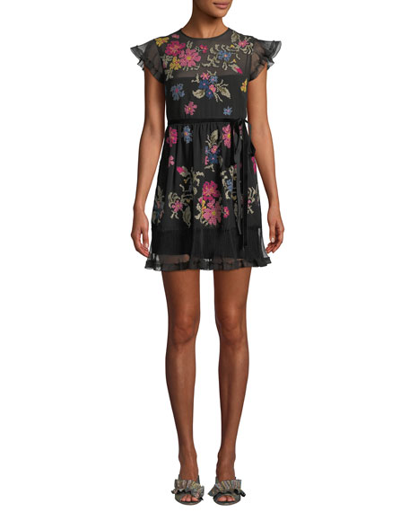 RED VALENTINO Cap-Sleeve Floral-Embroidered Ruffle Dress in Black