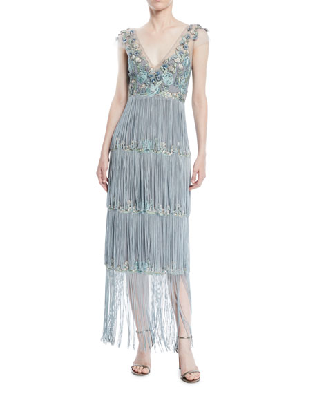 Cap-Sleeve Beaded Fringe Dress