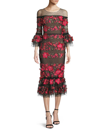 Floral Embroidered Dress w/ Ruffle Hem