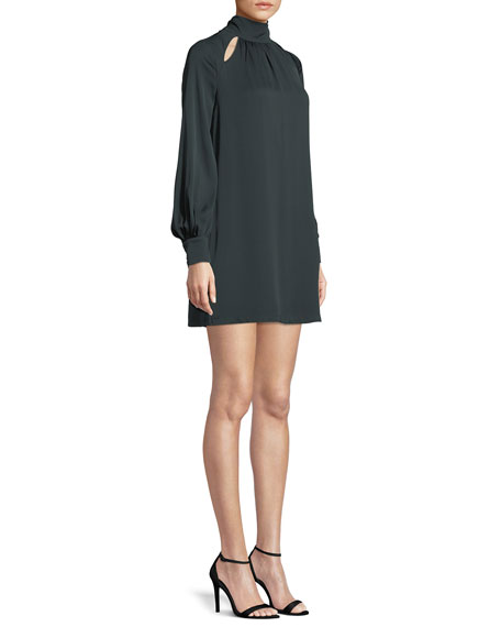Sherrie Mock-Neck Long-Sleeve Stretch-Silk Dress