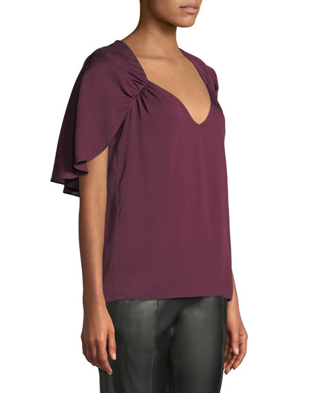 Romy V-Neck Cape-Back Stretch-Silk Top