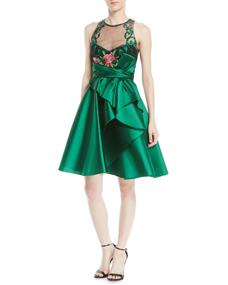 Marchesa Notte Sleeveless Illusion Dress w/ Mikado Skirt