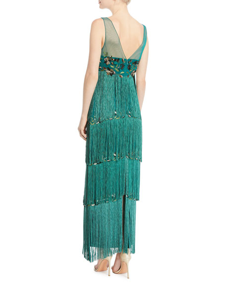 Sleeveless Embroidered Fringe Gown