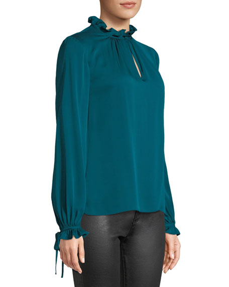 Jenny Ruffled-Neck Long-Sleeve Stretch-Silk Top