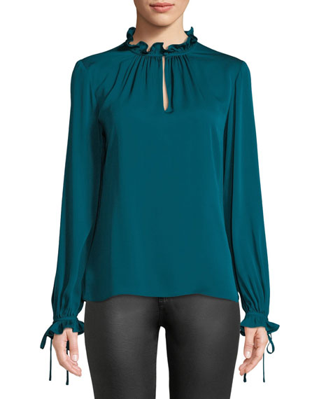 Milly Jenny Ruffled-Neck Long-Sleeve Stretch-Silk Top