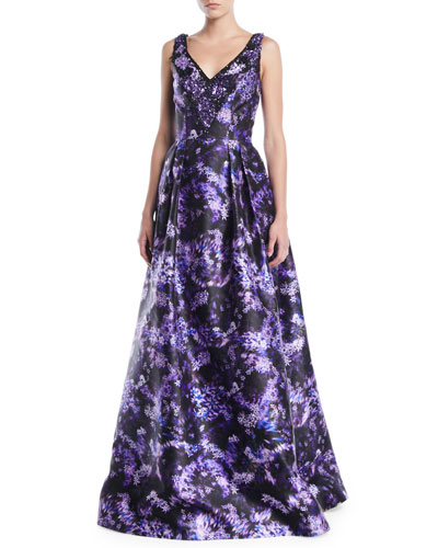 Lilac-Print Sleeveless Ball Gown w/ Pockets