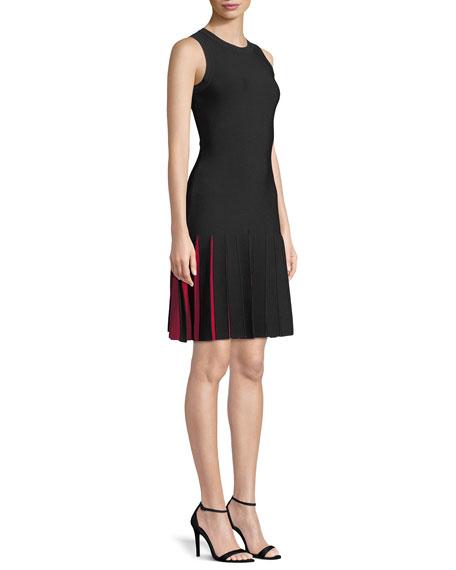 Contrast-Pleated Short Mermaid Dress
