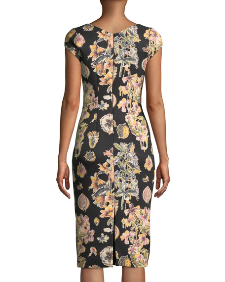 Short-Sleeve Floral Decoupage Scuba Cocktail Dress