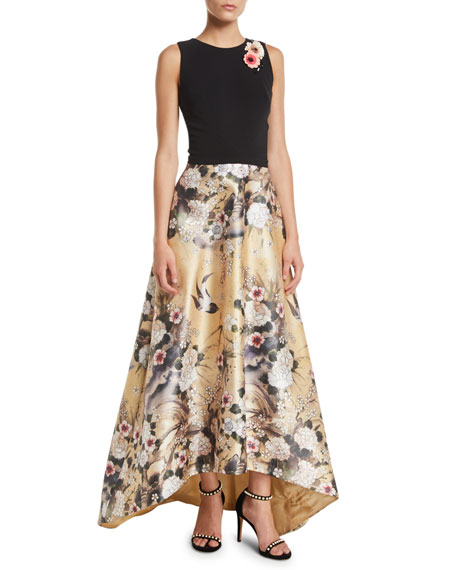 Japanese Parchment Print Sleeveless Gown with Flowers