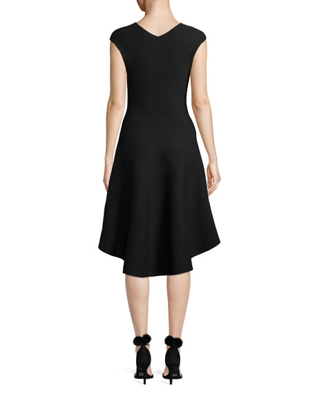 V-Neck Cap-Sleeve Contrast Knit Fit-and-Flare Dress